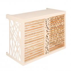 Verkleidung für Klimaanlagen-Ausseneinheit aus Holz und Aluminium in Cremeweiss