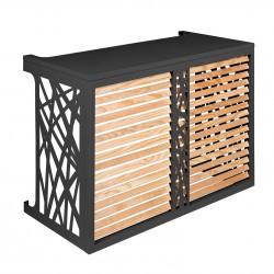 Verkleidung für Klimaanlagen-Ausseneinheit aus Holz und Aluminium Anthrazitgrau